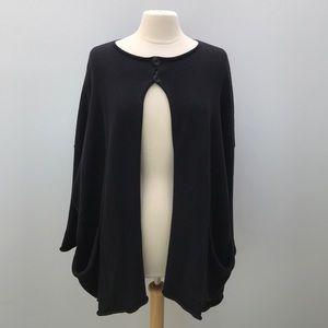 Sweaters - Eskandar Black A-Line Cardigan Cotton Sweater